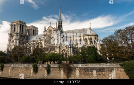 The Notre Dame cathedral is historical monument, one of the most visited in Paris. - Stock Photo