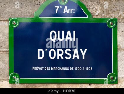 Quai d'Orsay street sign, Paris, France - Stock Photo