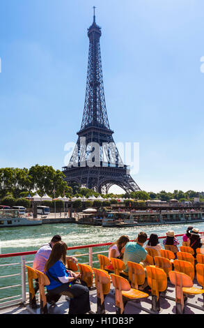 The Eiffel Tower (Tour Eiffel) from a Bateau Mouche on the River Seine, Paris, France - Stock Photo