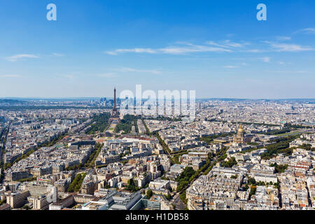 View over Paris, looking towards the Eiffel Tower and La Defense, from the top of the Tour Montparnasse, Paris, - Stock Photo