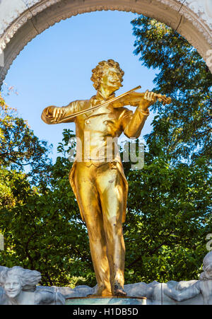 Statue of Johann Strauss II in the Stadpark, Vienna, Austria - Stock Photo