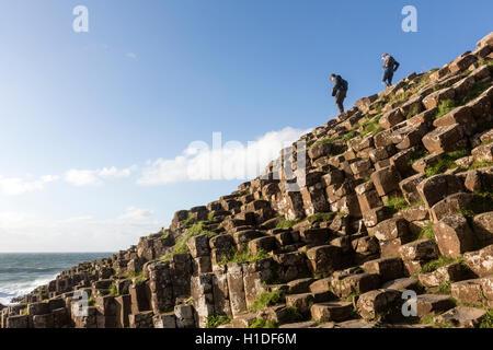 Tourist standing on basalt columns in Giant's Causeway, Bushmills, County Antrim, Northern Ireland, UK - Stock Photo
