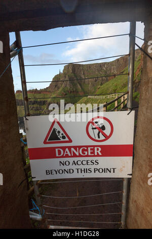 Giant's Causeway track closed to The Amphitheater, danger no access beyond this  point, Bushmills, County Antrim, - Stock Photo