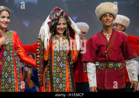 Dance group 'Lachin' shows the traditional wedding ceremony during the Days of Culture of Turkmenistan Republic - Stock Photo
