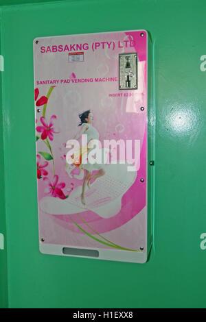 Sanitary pad vending machine in school girls toilet, St Mark's School, Mbabane, Hhohho, Kingdom of Swaziland - Stock Photo