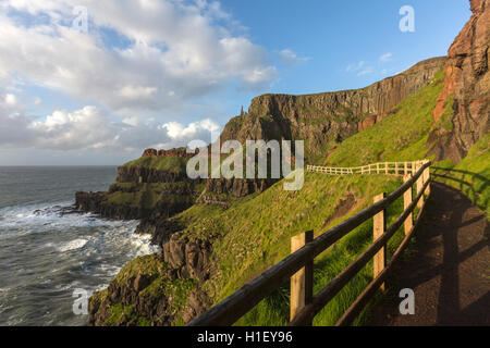 Giant's Causeway walk route closed looking the Chimney stacks, Bushmills, County Antrim, Northern Ireland, UK - Stock Photo
