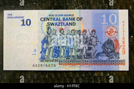 New Swazi bank note, ten Emalangeni, Kingdom of Swaziland - Stock Photo