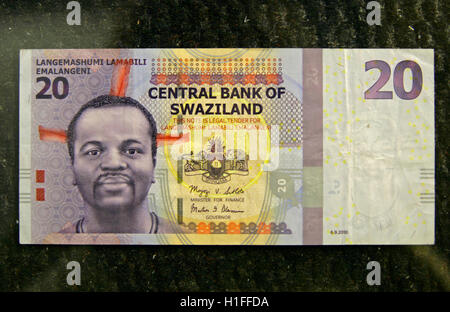 New Swazi bank note, twenty Emalangeni, Kingdom of Swaziland - Stock Photo