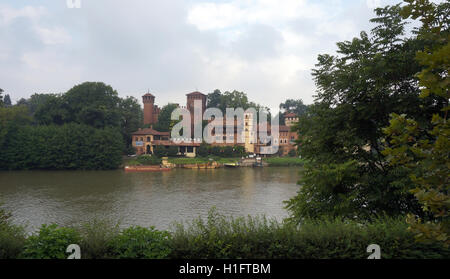 Borgo Medievale on the River Po - Stock Photo