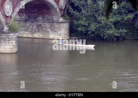 5-man Rowing Scull on the River Po. - Stock Photo