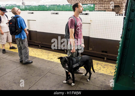 Manhattan New York City NYC NY 4th Street Station subway MTA public transportation rapid transit platform passenger - Stock Photo