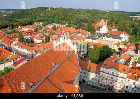 Overhead view of the old town in Vilnius - Stock Photo