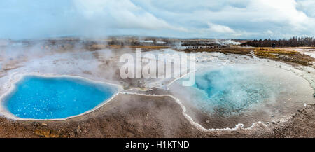 Hot springs, geothermal area in Haukadalur Valley, Blesi hot spring in front, Golden Circle, Southern Region, Iceland - Stock Photo