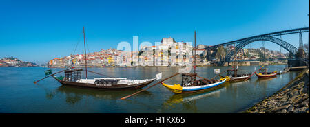 Rabelo boats, port wine boats on River Douro, Porto, Portugal - Stock Photo