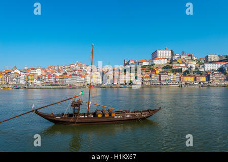 Rabelo boat, port wine boat on River Douro, Porto, Portugal - Stock Photo