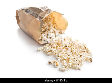 Tasty salted popcorn in paper bag isolated on white background. - Stock Photo