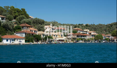Waterfront Vathi Harbour Meganisi Island Ionian Islands Greece - Stock Photo