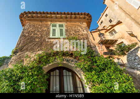 Jasmine covered entryway, Eze Village, Historic town, Medieval Village, Eze, Provence-Alpes-Cote d'Azur, France - Stock Photo