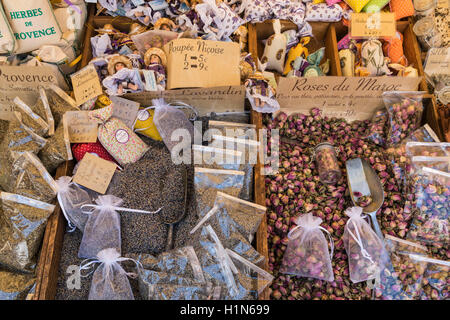 Spices and Souvenirs, Herbes de Provence, Lavandin, Roses,  Market Stall, Vieux Nice, Cours Saleya,  Alpes Maritimes, - Stock Photo