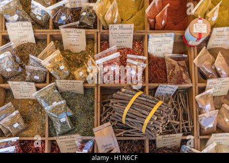 Spices, Market Stall, Vieux Nice, Cours Saleya,  Alpes Maritimes, Provence, French Riviera, Mediterranean, France, - Stock Photo