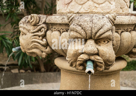 The Fontaine des Mascarons, stone fountain in historic village of  Séguret, 15th century,  Vaucluse, Provence, France - Stock Photo