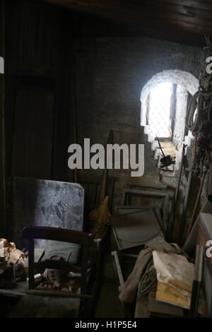 Inside the clock room of the Crooked Spire (Church of St Mary and All Saints), Chesterfield, with spare pair of - Stock Photo