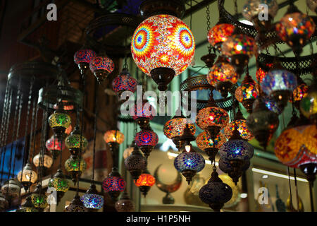 Authentic Asian multicolored lights in the Istanbul market. - Stock Photo