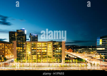 Oslo, Norway. Night View Of Business Center In Bright Illumination Among Modern Cityscape In Summer Late Evening, - Stock Photo