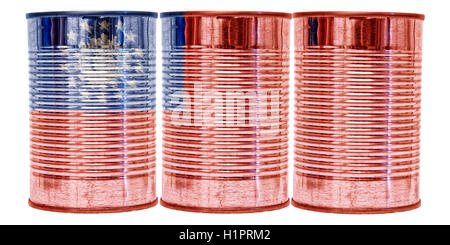 Three tin cans with the flag of Burma on them isolated on a white background. - Stock Photo