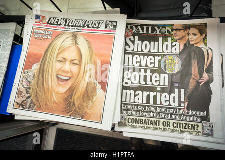 Both the New York Daily News and the New York Post covers feature a story about the imminent divorce of Angelina - Stock Photo