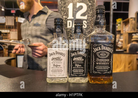 Visitors taste samples at the Jack Daniel's Lynchburg General Store pop up branding event in New York on Tuesday, - Stock Photo
