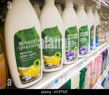Bottles of Seventh Generation brand dishwashing liquid on a supermarket shelf in New York on Tuesday, September - Stock Photo
