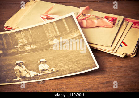 old photo and envelopes - Stock Photo