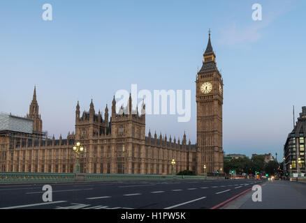 Early morning view of empty Westminster Bridge and Big Ben in London, United Kingdom - Stock Photo