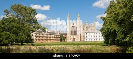 Panorama of King's College in Cambridge, United KIngdom - Stock Photo