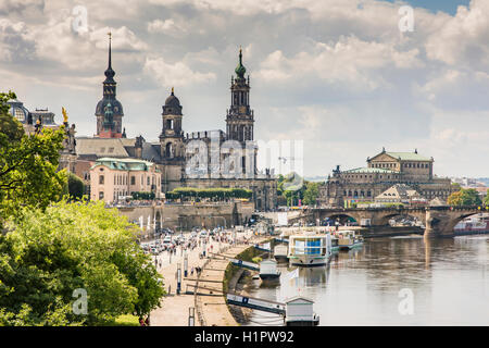 DRESDEN, GERMANY - AUGUST 22: Tourists in the historic center of Dresden, Germany on August 22, 2016. - Stock Photo