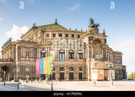 DRESDEN, GERMANY - AUGUST 22: Tourists at the Semperoper in Dresden, Germany on August 22, 2016. - Stock Photo