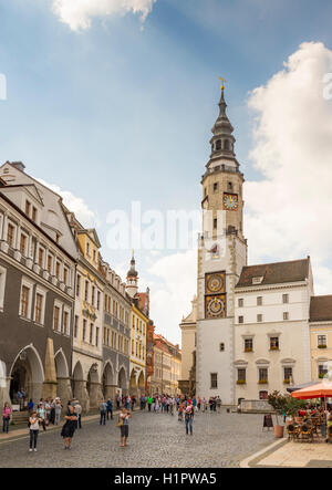 GOERLITZ, GERMANY - AUGUST 23: Tourists at the old town hall of Goerlitz, Germany on August 23, 2016. - Stock Photo