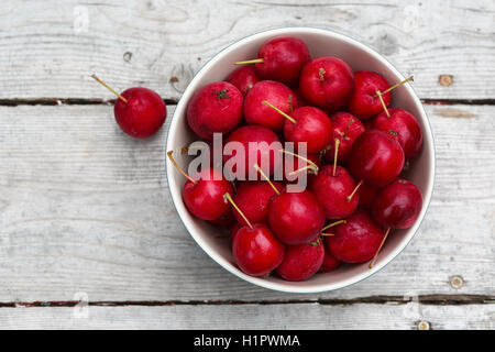 Ripe red crabapples on a wooden picnic table. - Stock Photo