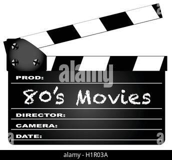 A typical movie clapperboard with the legend 80's Movies isolated on white. - Stock Photo