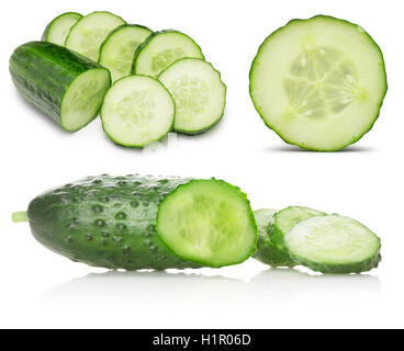 collection of cucumbers with slices isolated on the white background. - Stock Photo