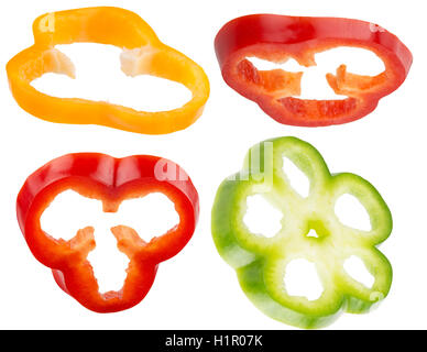 collection of pepper slices isolated on the white background. - Stock Photo