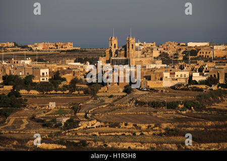 View of the Basilica of the Visitation a baroque, collegiate parish church located in the village of Gharb at the - Stock Photo