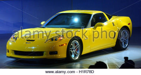 Detroit michigan the chevrolet corvette z06 on display for H and r auto motors