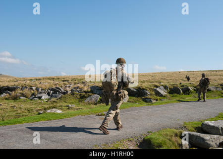 Soldiers from the British Army on a Training Exercise on Okehampton Range,Dartmoor National Park,Devon,England,UK - Stock Photo