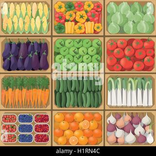 ... Vegetable Crates At The Farmers Market, Top View, Harvest And Healthy  Eating Concept
