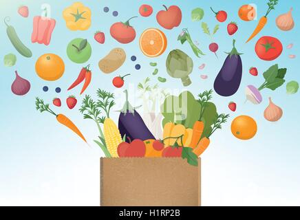 Explosion of tasty freshly harvested vegetables in a paper shopping bag, healthy eating and agriculture concept - Stock Photo