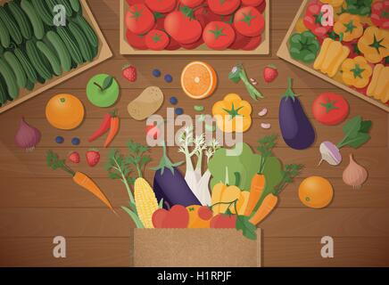 Explosion of tasty freshly harvested vegetables in a paper shopping bag, healthy eating and agriculture concept, - Stock Photo