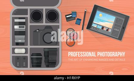 Photographer's bag with professional equipment, flat lay, banner with copy space - Stock Photo