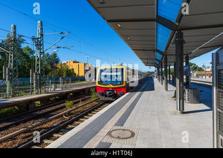 An S-Bahn train at Charlottenburg station, Berlin, Germany - Stock Photo